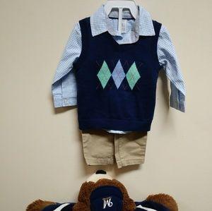 3 pc BOYS checkered shirt khaki pants argyle vest
